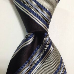 ERMENEGILDO ZEGNA Men's Silk Necktie ITALY Luxury STRIPED Black/Gray/Blue EUC