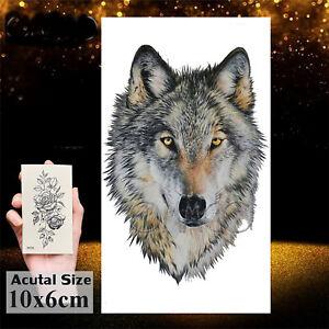 Temporäres Tattoo Wolf Wald Forest Wasserfest Einmal Tier Tiere Farbig