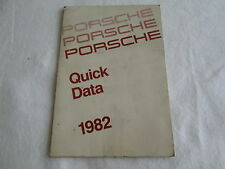 1982 Porsche Quick Data 911SC 928 911 924 Turbo Specification 6-pg foldout Book
