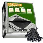 12x20 Ft Waterproof Poly Tarp with 25 Ball Bungees Protect Cover 10mil Tarpaulin