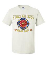 Firefighters Kick Ash Funny T-Shirt Fireman Volunteer Fire Dept Crest Tee Shirt