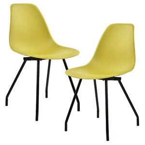 [en.casa]® 2x Retro Design Stühle Esszimmer Senffarben Stuhl Plastik Kunststoff