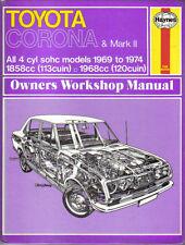 Toyota Corona & Mk 2 Haynes Manual de taller 1969-1974 4cyl Sohc Modelos del Reino Unido y EE.UU.