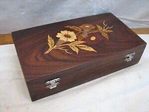 Wooden Inlay Marquetry Trinket Dresser Box Wood Inlay Flower Decor Ornate
