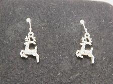 Tibetan Silver Raindeer  Dangle Earrings on Silver Plate Ball & Hook Findings
