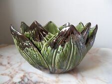 Stunning Green Artichoke Metallic Glazed Bowl
