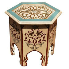 Moroccan Tea Table Oriental Hand-Painted Coffee Table Wooden Table Cream