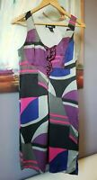 Kenzie Dress Sz М 100% Silk Empire Waist Sleeveless Geometric Purple Gray Pink