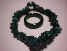 cristalloterapia BRACCIALE MALACHITE + ANELLO braccialetto cristallo fatto mano