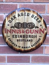 Innis & Gunn round plaque wooden sign man cave shed bar pub 15 Inch