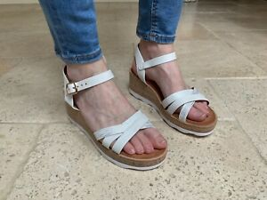 Wedge Sandals With Crossover Straps Womens 55-18 White size UK 3 EU 36