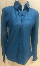 $598 NWT TURQUOISE LEATHER JACKET / BUTTON DOWN TOP SZ S