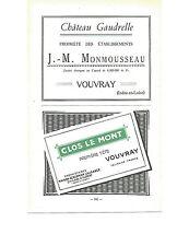 ADVERT Vouvray Vineyard Wine Sparkling MAP Clos le Mont Monmousseau Gaudrelle