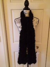 "Extra Long Black Scarf Chunky Yarn with Metallic Thread Handmade 90"" LONG NEW"