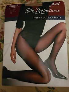 NWT Vtg Hanes Silk Reflections Pantyhose CD French Cut Lace Panty barely there