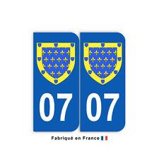Stickers pour plaque département 07 Ardèche (jeu de 2 stickers) blason