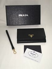 NEW WITH TAGS Prada Soffiano Metal Women's Wristlet Wallet Black