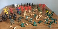 Lot Of 70 Toy Plastic Soldiers Indians Cowboys Pirates Army Men Military Horses