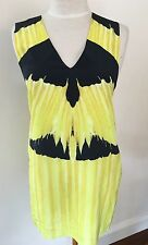 "Sass & Bide ""Fly Be Free"" Yellow & Black 100% Silk Top - Size 8"