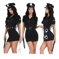 Sexy Women Police Uniform Costume Dress Halloween Cosplay Fancy Dress Outfit Set