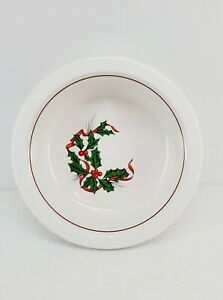 Christmas FIESTA holly and ribbon LARGE 1 QUART SERVING BOWL white NEW
