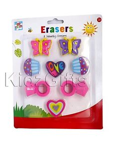 8 Girly Novelty Rubber Erasers Ring Butterfly Heart Muffin Shaped Kids Party Bag