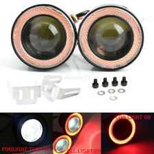 "3.5"" COB LED Fog Lights Projector Car Red Angel Eyes Halo Ring DRL Driving Lamp"