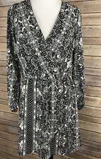 Charlotte Russe Womens Dress Black White Long Sleeve Wrap Dress Career Size S