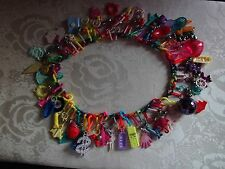 AUTHENTIC 1980'S RAINBOW PLASTIC NECKLACE w/55 CHARMS & BELLS - NEW OLD STOCK