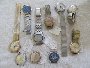 Mixed Lot 10 Mens Timex Windup Wristwatches Analog Quartz Work/Nonwork Parts