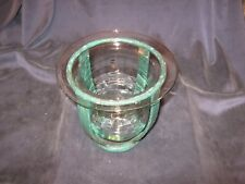 * L@@K * LARGE CLEAR GLASS VOTIVE CANDLE HOLDER & FRAME * OUTDOOR PATIO LIGHT