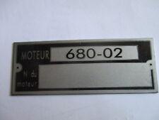Typenschild Renault R 4 Motor-Schild ID-plate moteur 680-02 tag plaque targa s29