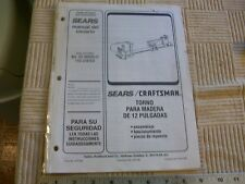 "Owners Manual (Spanish) 41 Pages From 12"" Sears Craftsman Wood Lathe #113-228163"