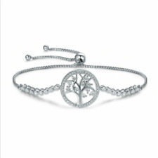 Tennis Bracelet Sterling Silver 925 with Adjustable Chain Tree of Life