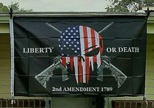 American Punisher Skull Flag 3X5 Liberty or Death 2nd Amendment USA Banner