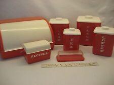 Vintage 50s Red Plastic Styrene Bread Box Canister Set Lustro Recipe, Butter