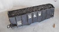 Vintage HO Scale Kit Built Wood N&W Coal Car Body with Custom Load