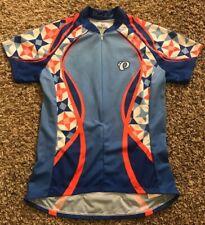 Womens Pearl Izumi Cycling Jersey Medium Geometric Bicycle Blue Pink 3/4 Zip