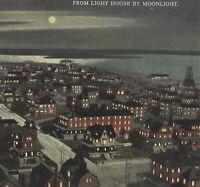Atlantic City NJ Birds Eye Night View Curt Teich Postcard 1911 Antique
