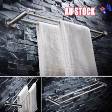 60cm Double Towel Rail Rack Holder Wall Mounted Bathroom Shelf Stainless Steel