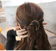 18K Gold Plated Simple Moon Metal Hairpins barrettes Vintage Hair Clip (CC48-47)