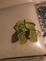 A. Marinelli Leather Sole High Heel Shoes Sandals Green /Metal Sz 7M