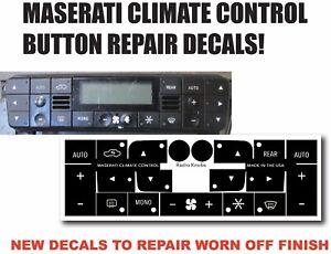 Maserati Quattroporte HVAC CLIMATE CONTROL Black Button Repair Stickers