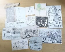 Lot Edwardian Caricature Drawings Sketches England Wales Student Humor