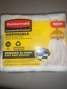 Rubbermaid Commercial Product Disposable, Mop Refill 4-Pack #16 Small