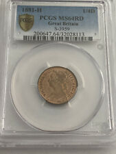 More details for 1881-h g britain victoria farthing 1/4d pcgs ms64rd