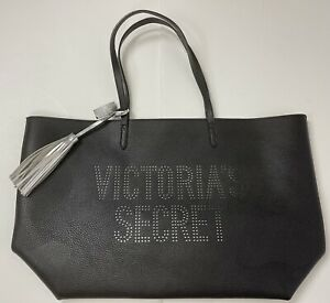 Victorias Secret Tote Bag Black With Silver Lining And Tassel Black Handles NWT