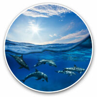 2 x Vinyl Stickers 7.5cm - Swimming Underwater Dolphins Pod Cool Gift #21469