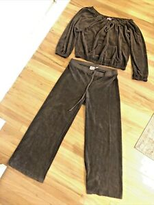 juicy couture terry cloth tracksuit brown women's size large