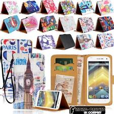 For Various Wiko Phones - Leather Wallet Card Stand Flip Case Cover + Strap